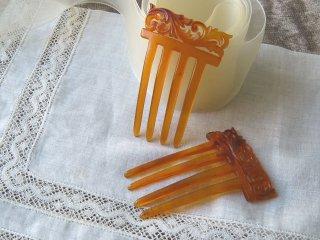 鼈甲の櫛簪・斑入りの蜂蜜色白甲
