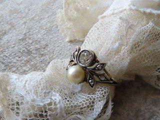 天然真珠&ダイヤトワエモアリング