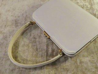 純白のトカゲ本革のハンドバック