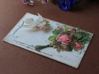 アンティーク絵葉書『薔薇と白鳩』
