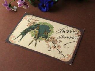 アンティーク絵葉書『花とツバメ』