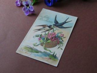 アンティーク絵葉書『花籠とツバメ』