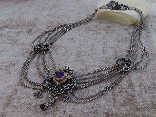 渋い古美銀のアメジストネックレス