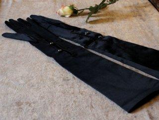 アールデコの黒絹の長手袋