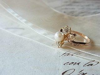天然真珠&ダブルダイヤのリング