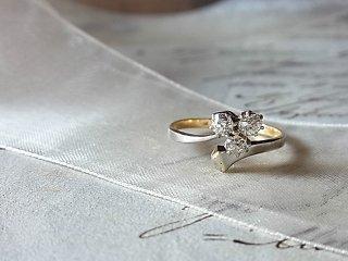 三つ葉のダイヤ&馬蹄釘のリング