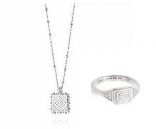 アステカ ネックレス&アステカ リング M Silver セット