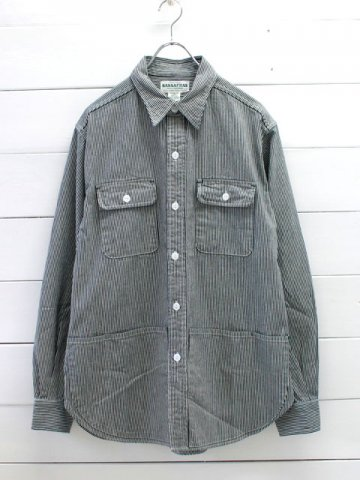 SASSAFRAS(ササフラス)<br>C&P.O.APRON SHIRT HICKORY NATURAL/BLUE (SF-181306)