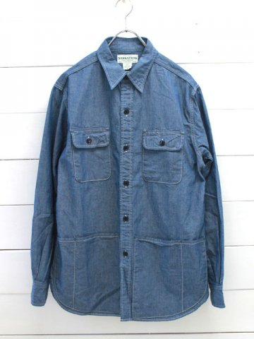 SASSAFRAS(ササフラス)<br>C&P.O.APRON SHIRT 5OZ CHAMBRAY BLUE (SF-181306)