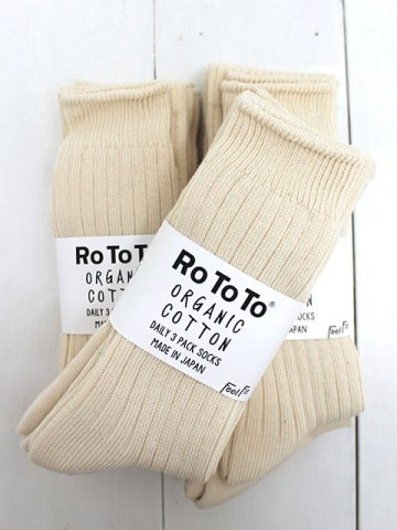 RoToTo(ロトト) ORGANIC COTTON DAILY 3PACK SOCKS (R1123)