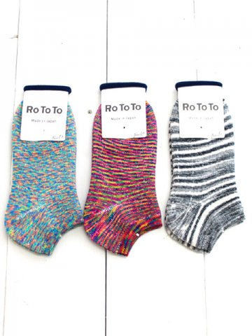 "RoToTo(ロトト) <br>WASHI PILE SOCKS SHORT ""KASURI"" (R1143)"