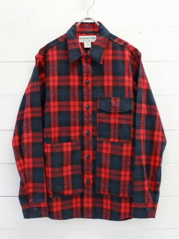 SASSAFRAS(ササフラス)<br>DIGS CREW HALF TARTAN CHECK / RED (SF-191530)