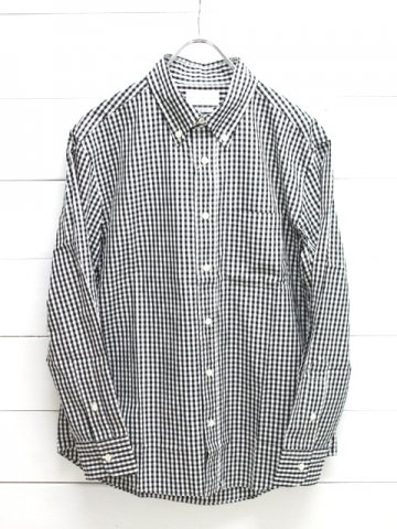 MANUAL ALPHABET (マニュアルアルファベット)<br>100/2 GINGHAM BD SHT - Bulging fit - BLACK (BASIC-BG-002)
