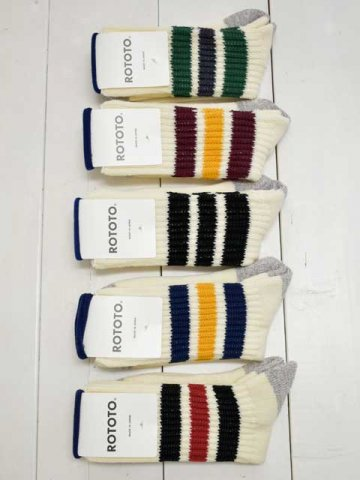 RoToTo(ロトト) <br>COARSE RIBBED OLD SCHOOL SOCKS (R1255)