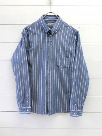 nisica (ニシカ) ボタンダウンシャツ ストライプ ブルー (NIS-906)