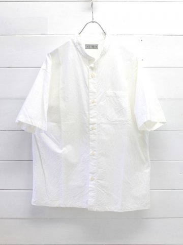 nisica (ニシカ) バンドカラー半袖シャツ ホワイト (NIS-911)