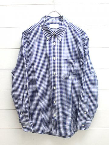 MANUAL ALPHABET (マニュアルアルファベット)<br>100/2 GINGHAM BD SHT - Bulging fit - NAVY (BASIC-BG-002)