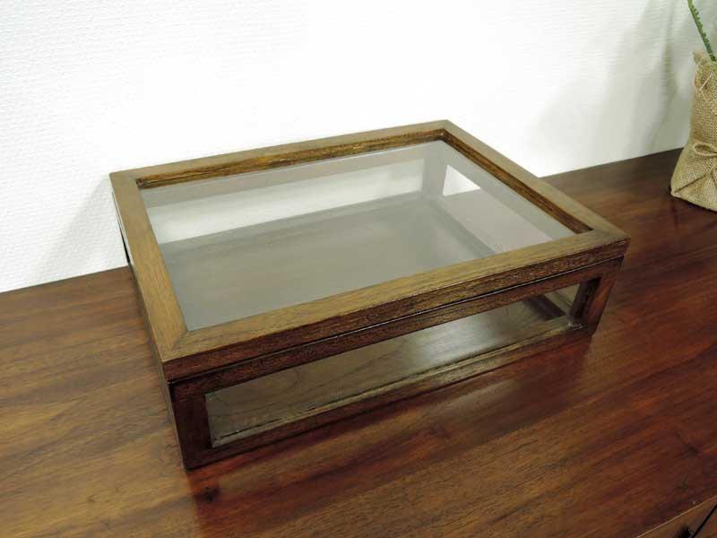チーク ガラスコレクションボックス<br>