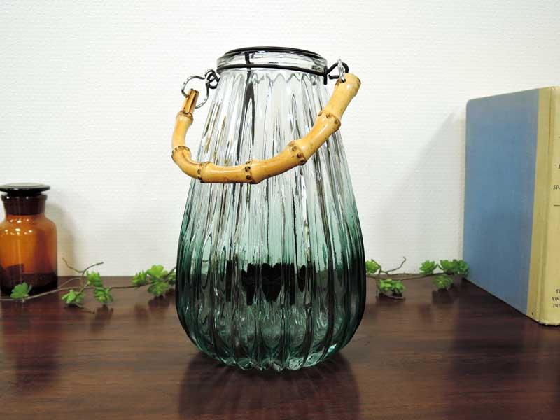 ジャギッドガラス<br>キャンドルホルダー グリーン<br>