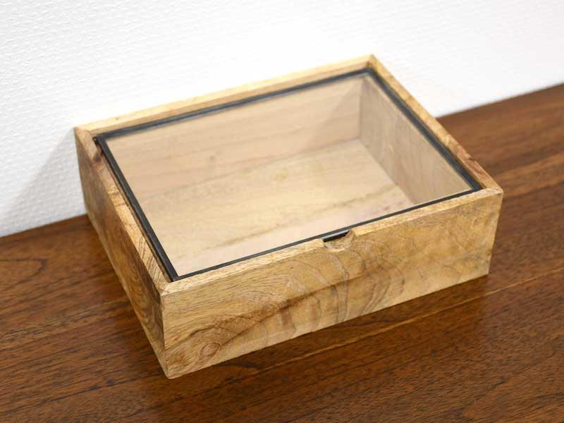 ガラスコレクション<br>ウッドケース レクタングル S<br>