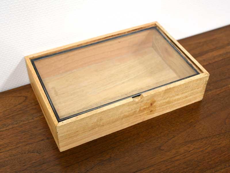 ガラスコレクション<br>ウッドケース レクタングル M<br>