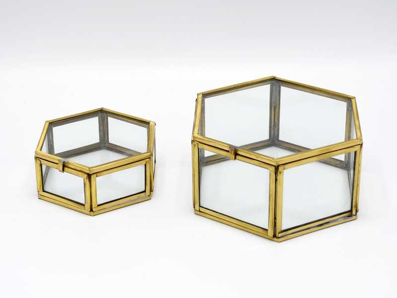 ブラス ガラスコレクション<br>ケース 2Pセット ヘキサゴン<br>