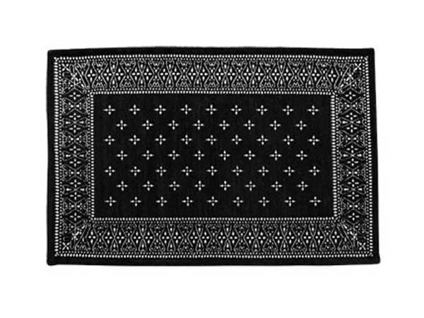 クロスバンダナ ラグ ブラック<br>80 x 50 cm<br>