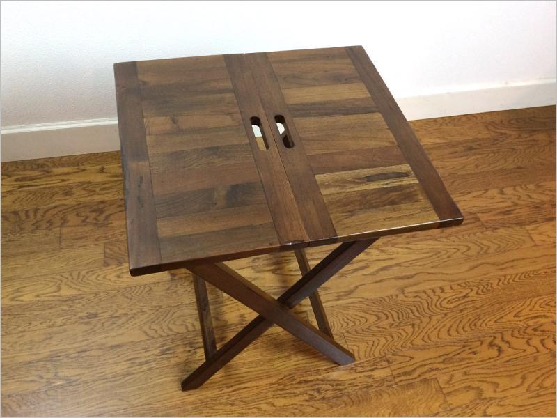【送料無料】チーク 無垢 折りたたみテーブル<br>