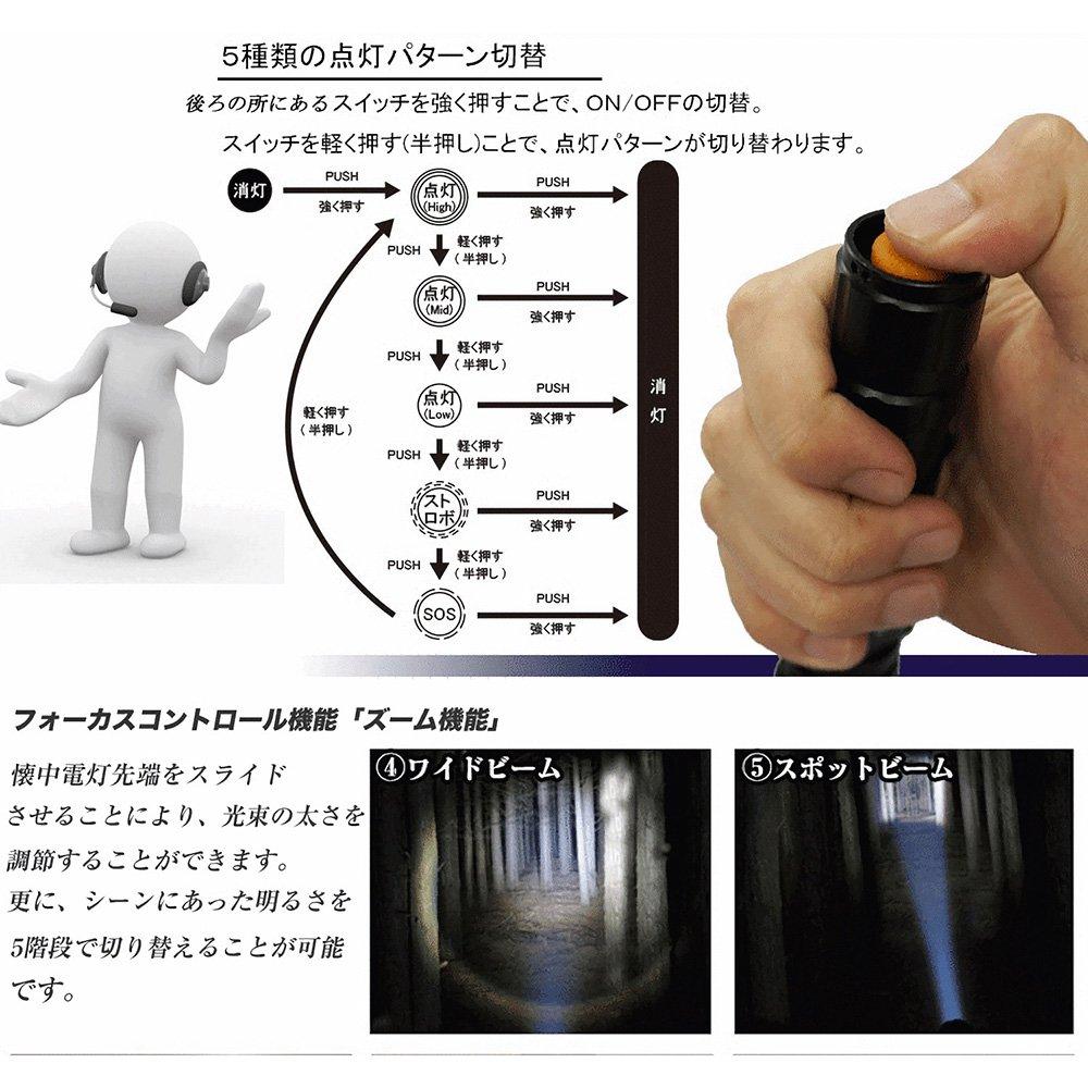 5モードがある 高強力LED懐中電灯