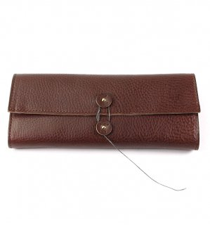 SHRINK LEATHER SOFT EYEWEAR CASE / Dark Brown & Beige