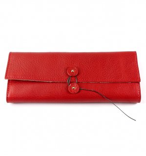 SHRINK LEATHER SOFT EYEWEAR CASE / Red & Beige