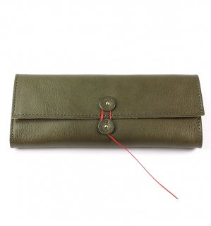 SHRINK LEATHER SOFT EYEWEAR CASE / Khaki & Yellow