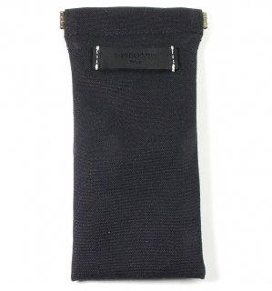 COTTON CANVAS  SOFT EYEWEAR CASE  / Black & Black Leather