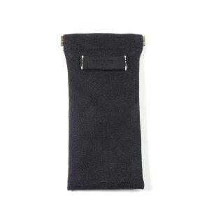 COTTON CANVAS  SOFT EYEWEAR CASE  / Black & Black Leather