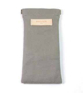COTTON CANVAS  SOFT EYEWEAR CASE  / Khaki & White Leather