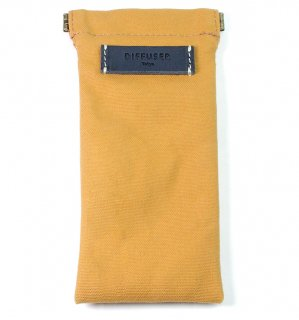 COTTON CANVAS  SOFT EYEWEAR CASE  / Ocher & Navy Leather