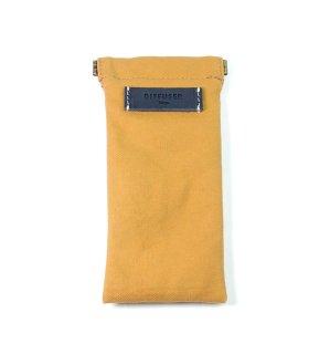 COTTON CANVAS  SOFT EYEWEAR CASE  / Ocher & Navy Leather