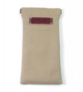 COTTON CANVAS  SOFT EYEWEAR CASE  / Light Brown & Dark Purple Leather