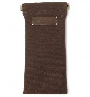 COTTON CANVAS  SOFT EYEWEAR CASE  / Dark Brown & Dark Brown Leather