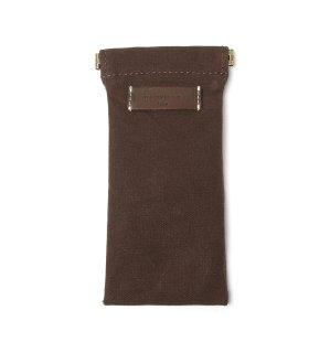 COTTON CANVAS  SOFT EYEWEAR CASE  / Dark Brown & Dark Brown Leather