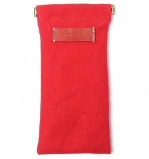COTTON CANVAS  SOFT EYEWEAR CASE  / Red & Red Leather