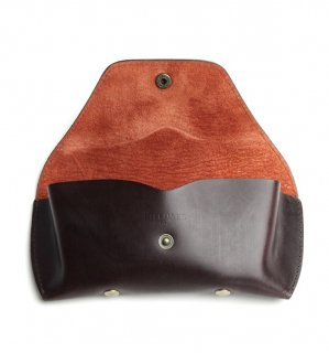 BRIDLE LEATHER EYEWEAR CASE / Brown & Dark Red