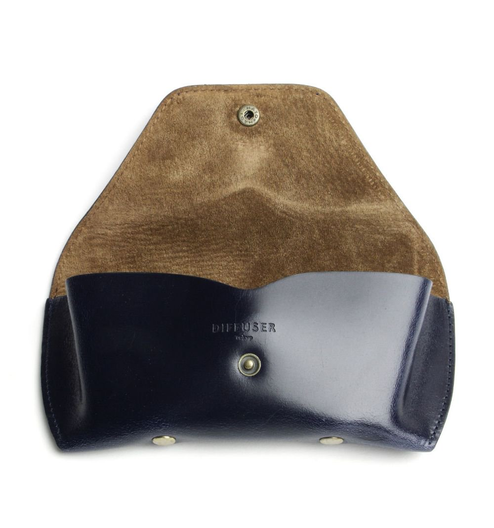 BRIDLE LEATHER EYEWEAR CASE / Navy & Brown