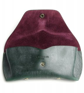 BRIDLE LEATHER EYEWEAR CASE / Green & Purple Red