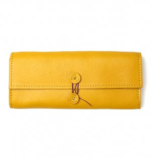 SHRINK LEATHER SOFT EYEWEAR CASE / Yellow & Orange Red