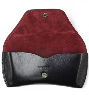 OILE LEATHER EYEWEAR CASE / Black & Dark Red