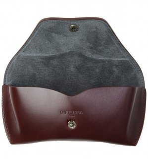 OILE LEATHER EYEWEAR CASE / Dark Brown & Dark Grey