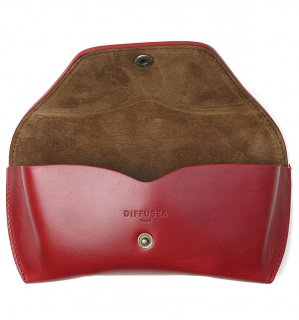 OIL LEATHER EYEWEAR CASE / Red Brown & Brown