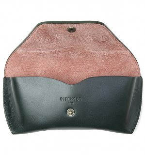 OILE LEATHER EYEWEAR CASE / Dark Green & Pink