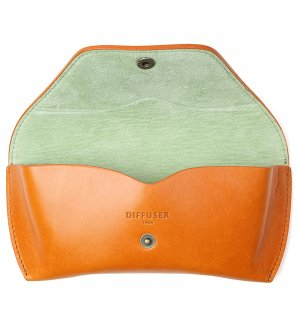 OILE LEATHER EYEWEAR CASE / Orange & Mint Green